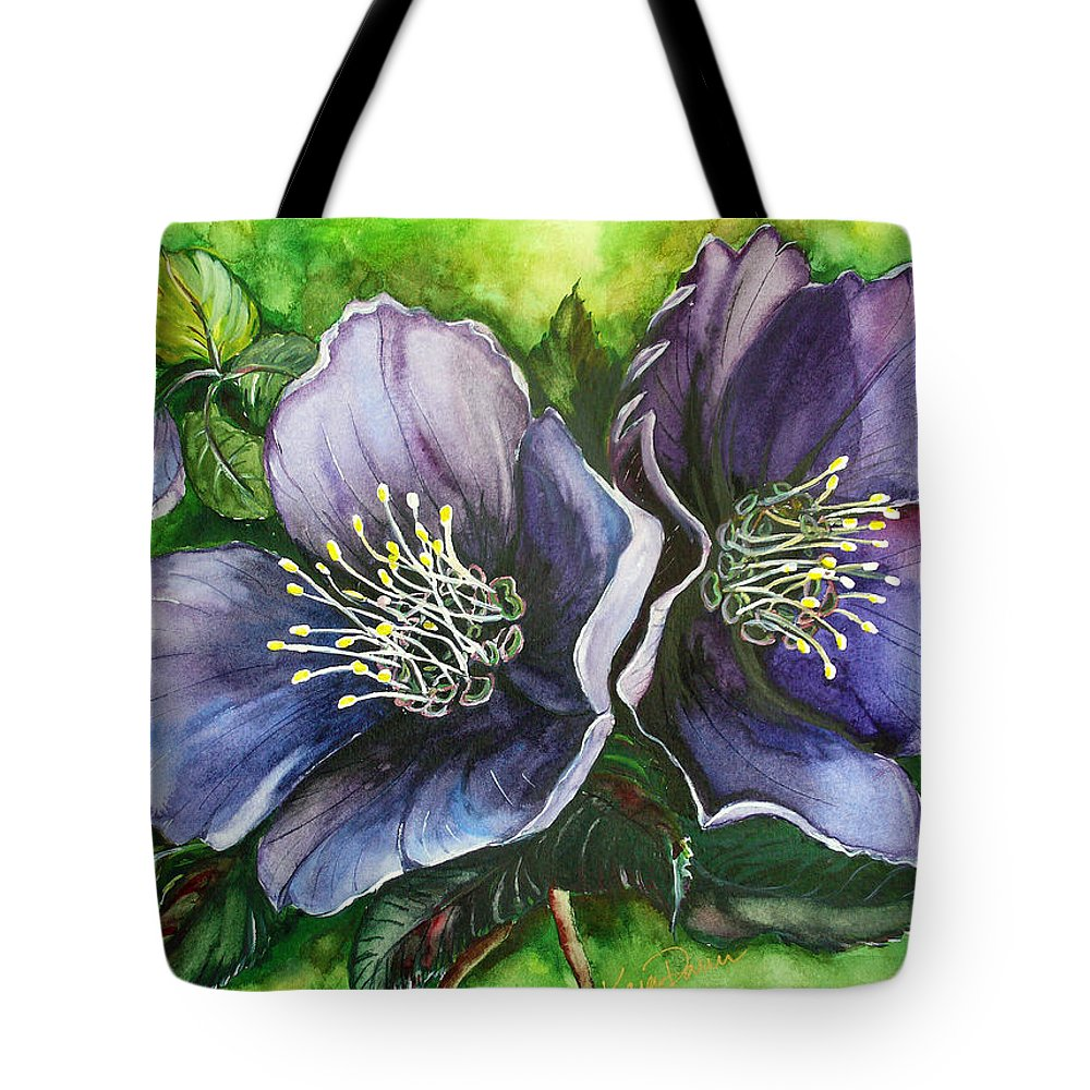 Flower Painting Botanical Painting Original W/c Painting Helleborous Painting Tote Bag featuring the painting Helleborous Blue Lady by Karin Dawn Kelshall- Best