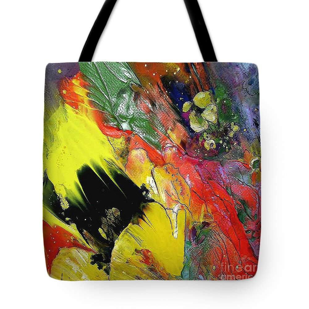 Flowers Tote Bag featuring the painting Hello Sunshine 02 by Miki De Goodaboom