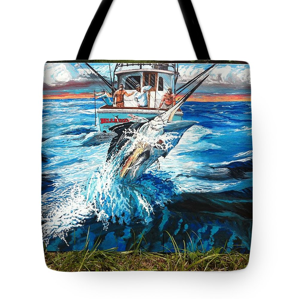 Black Marlin On Charter Boat Hellraiser Tote Bag featuring the painting Hellraiser by Minamoto Yoshida