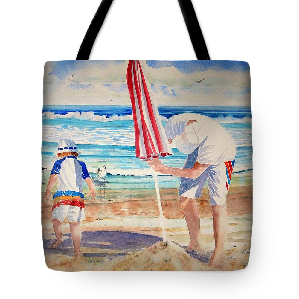 Beach Tote Bag featuring the painting Helping Dad Set Up The Camp by Tom Harris