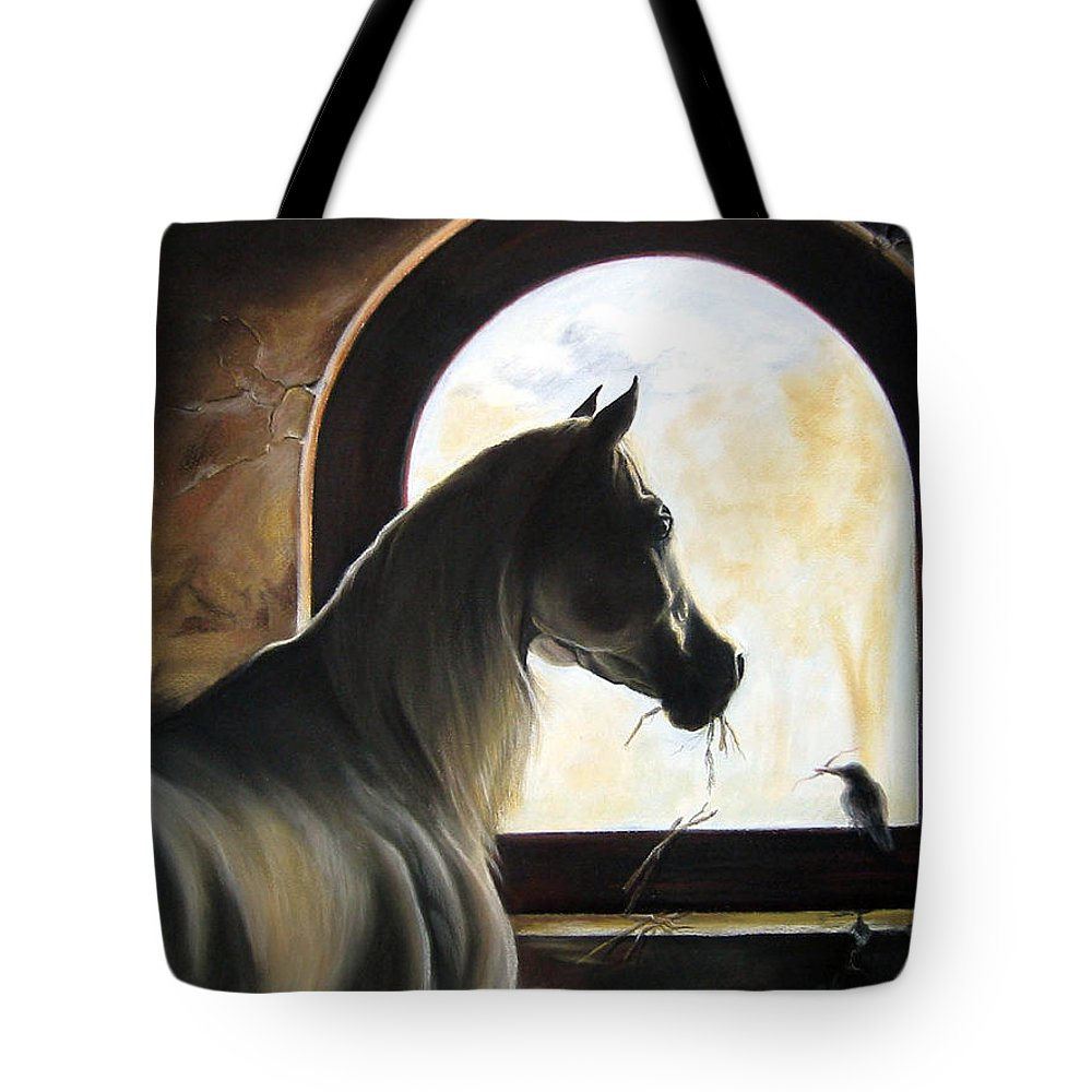 Tote Bag featuring the painting Helping by Leyla Munteanu