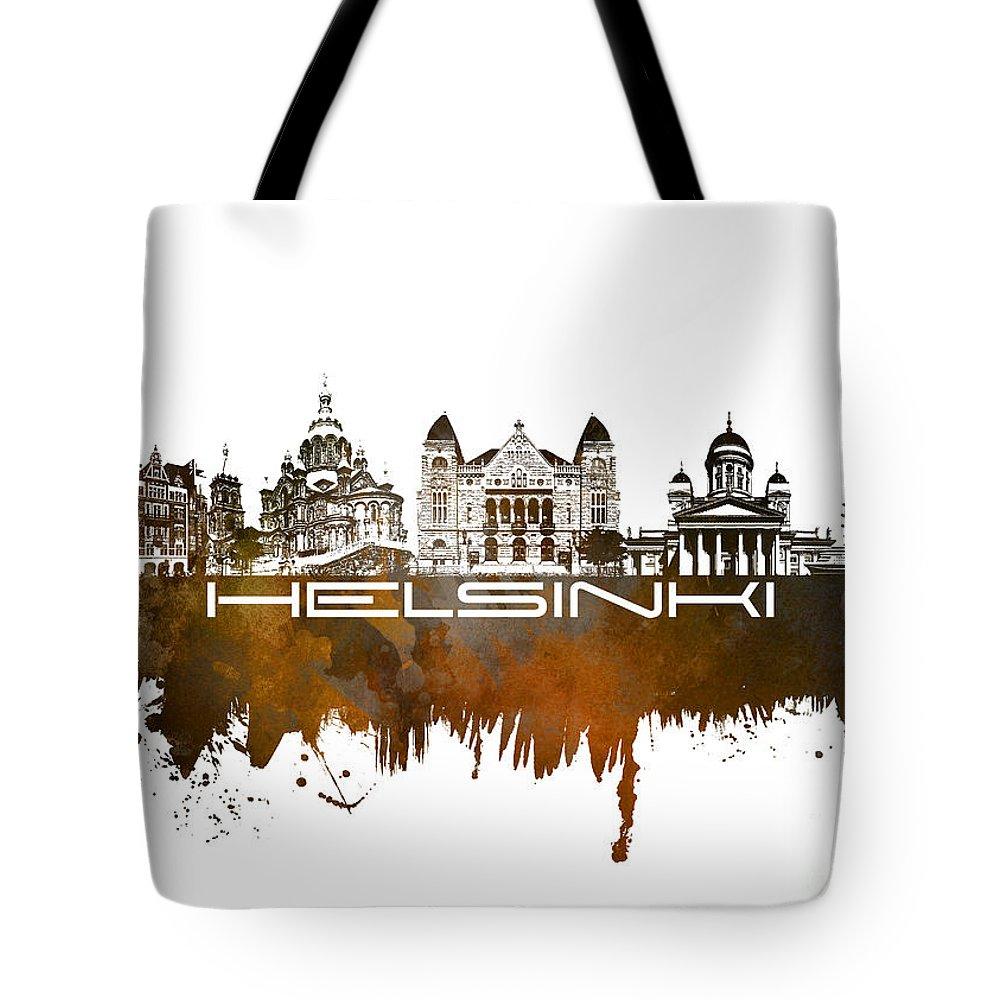 Helsinki Tote Bag featuring the digital art Helsinki Skyline City Brown by Justyna JBJart