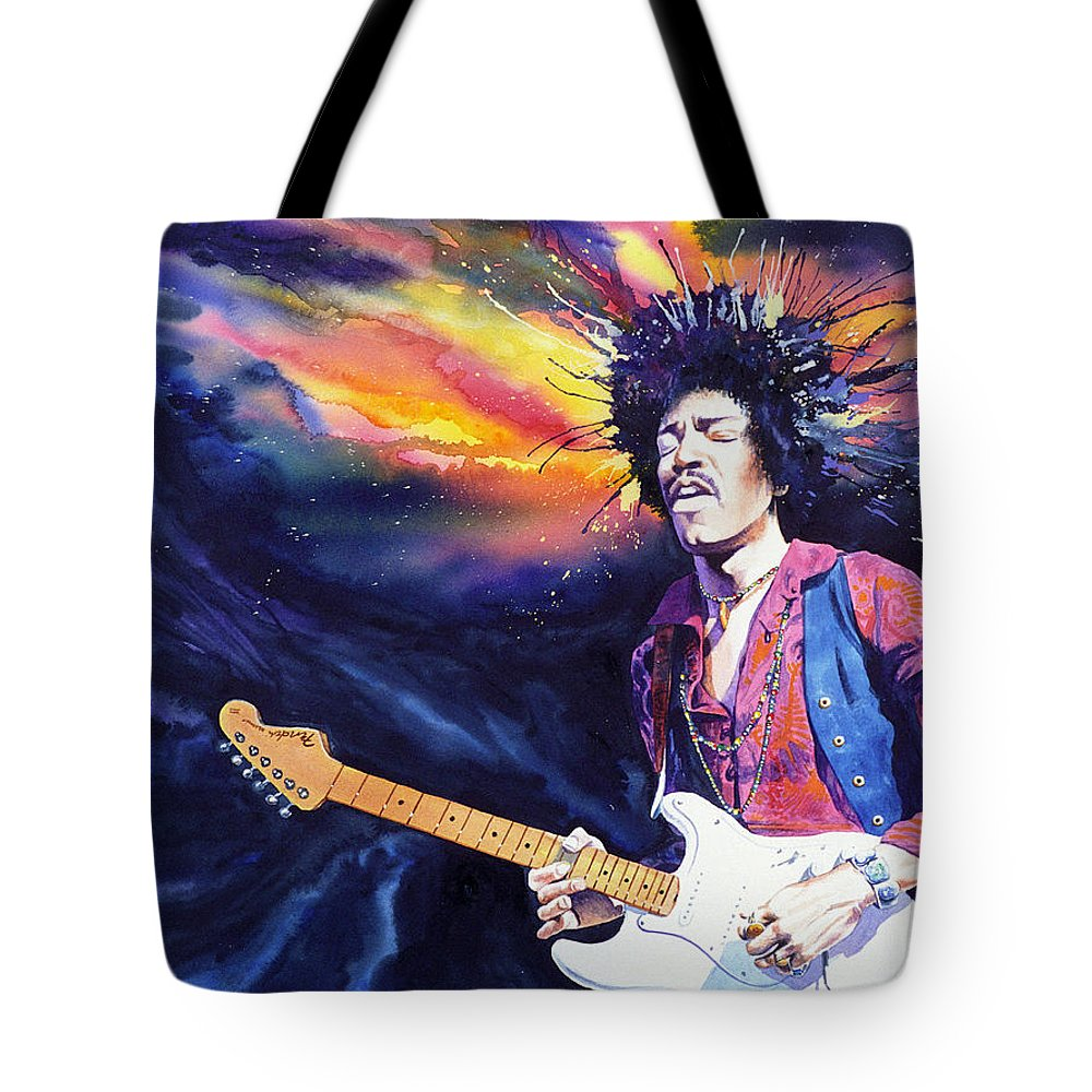 Jimi Hendrix Tote Bag featuring the painting Hendrix by Ken Meyer jr