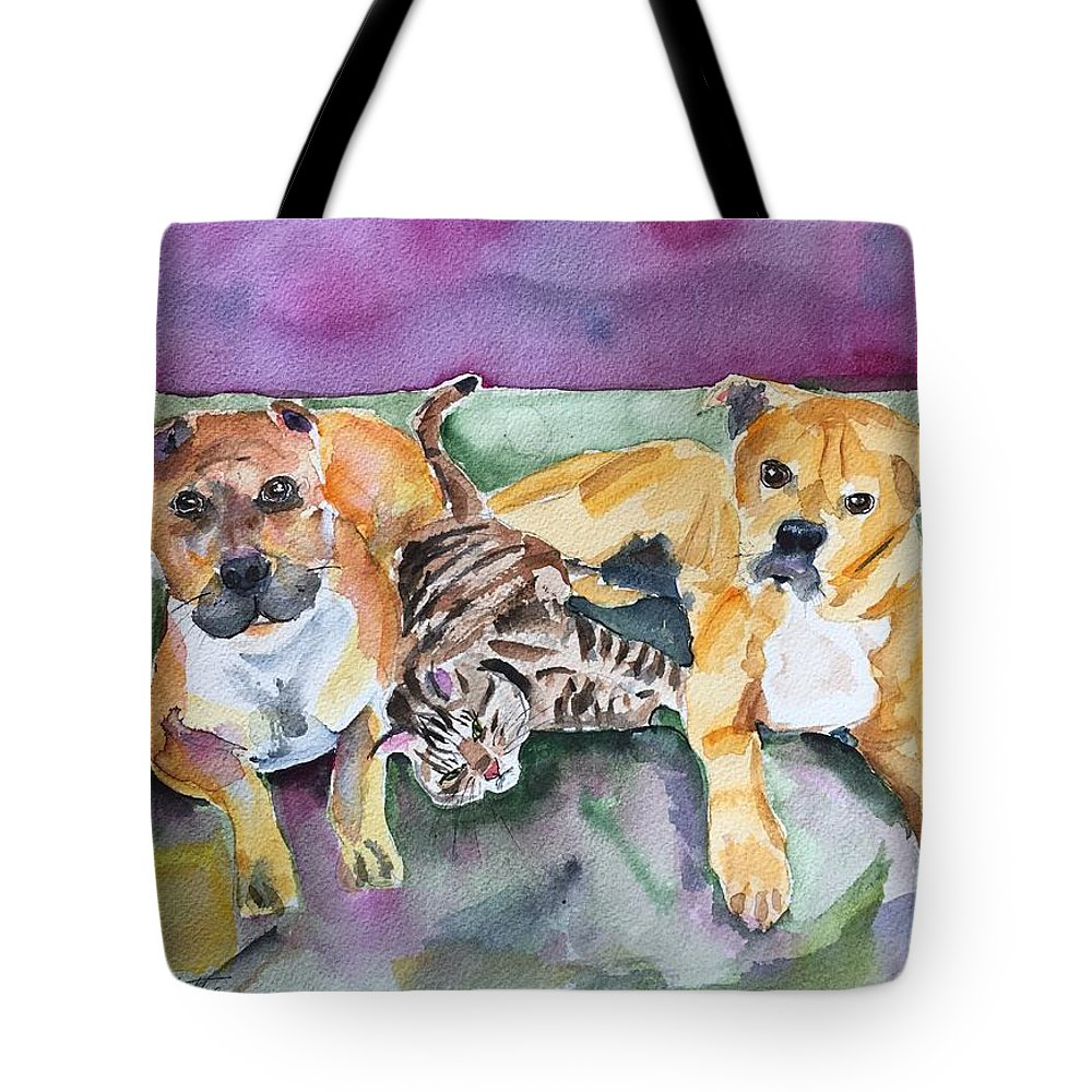Pet Portrait Tote Bag featuring the painting Henry And Sam And Jack by Bonny Butler