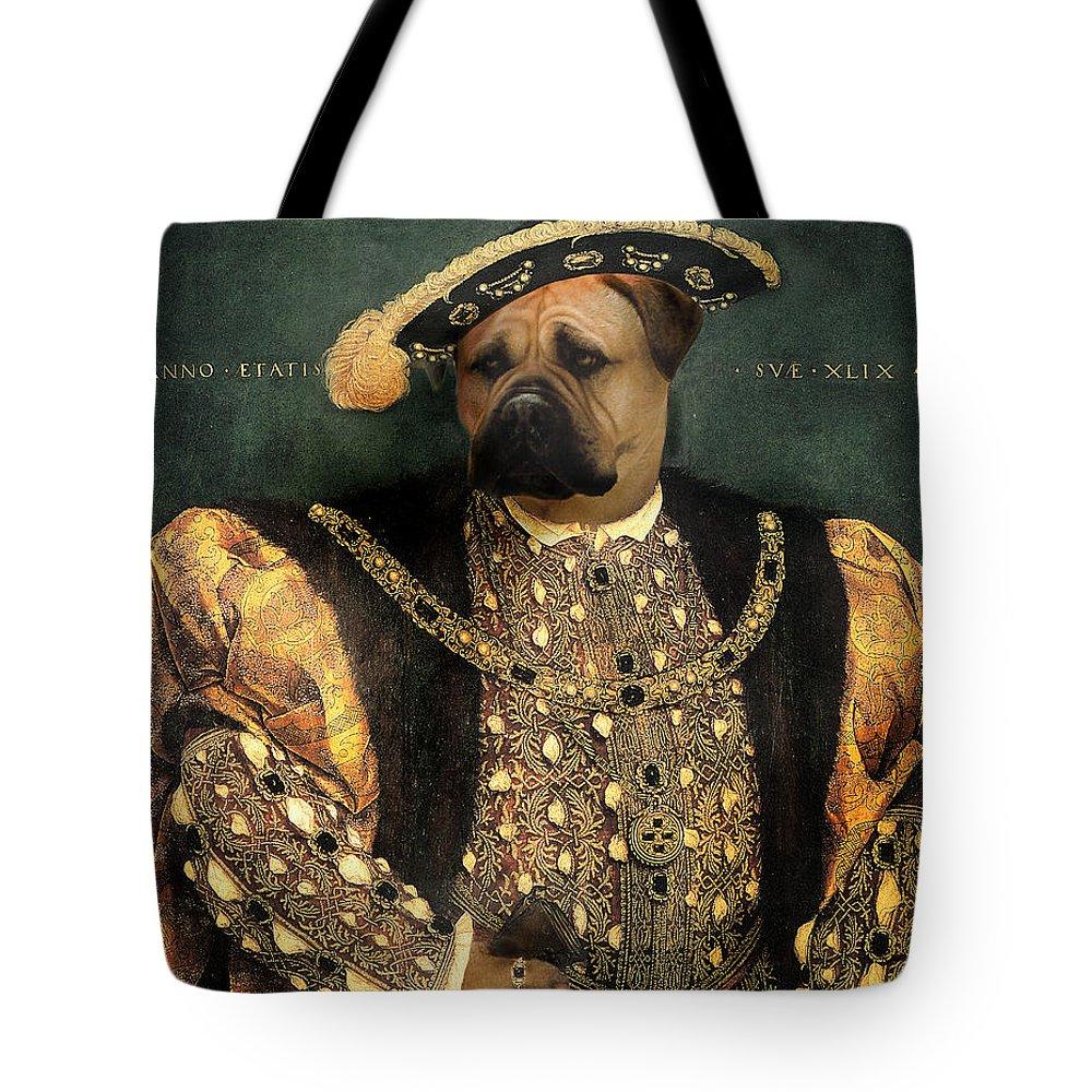 Mastiff Tote Bag featuring the digital art Henry VIII as a Mastiff by Galen Hazelhofer