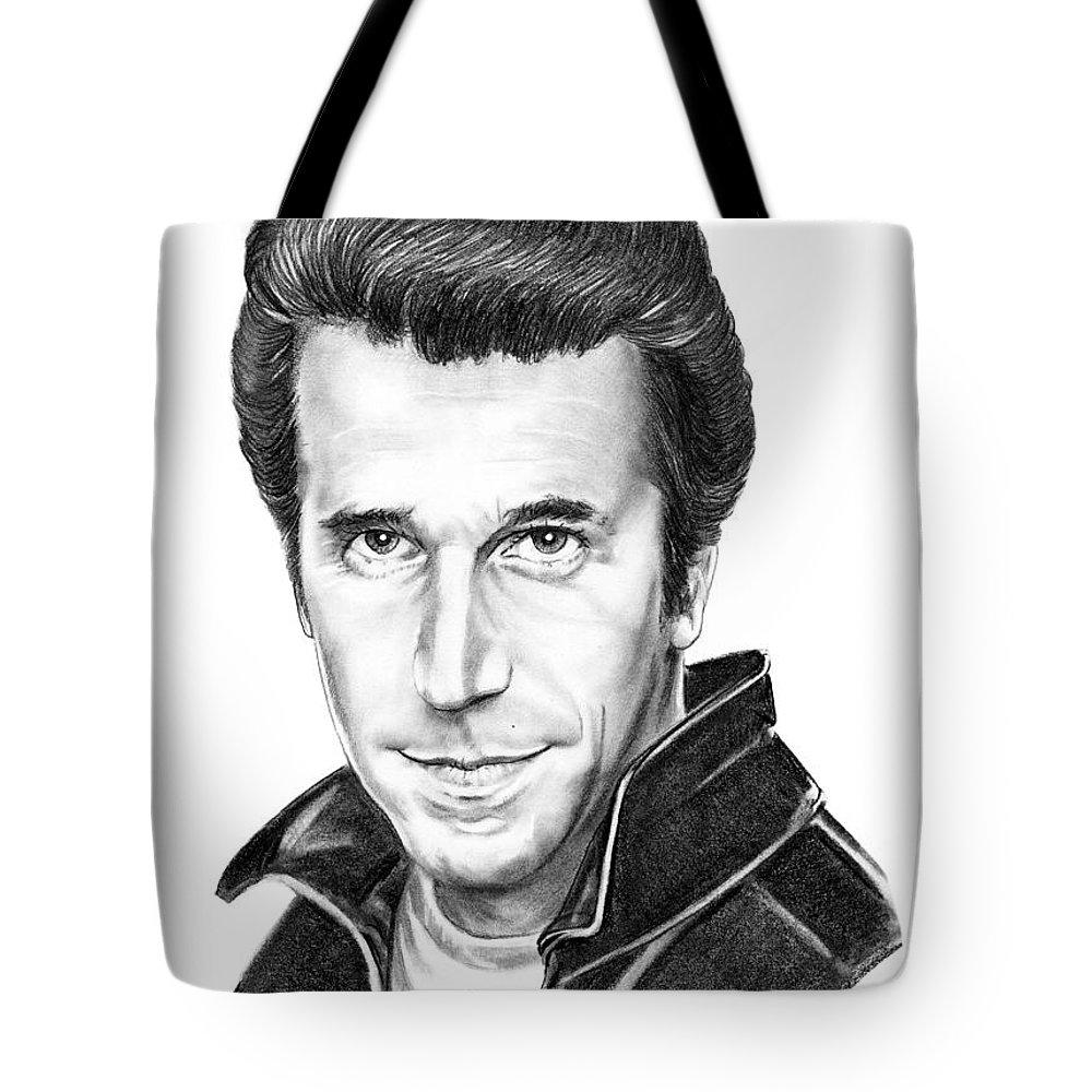 Portrait Tote Bag featuring the drawing Henry Winkler The Fonz by Murphy Elliott