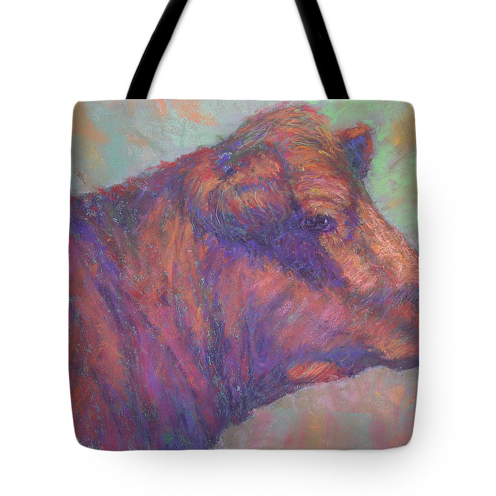 Farm Animals Tote Bag featuring the painting Henry's Red Angus by Susan Williamson