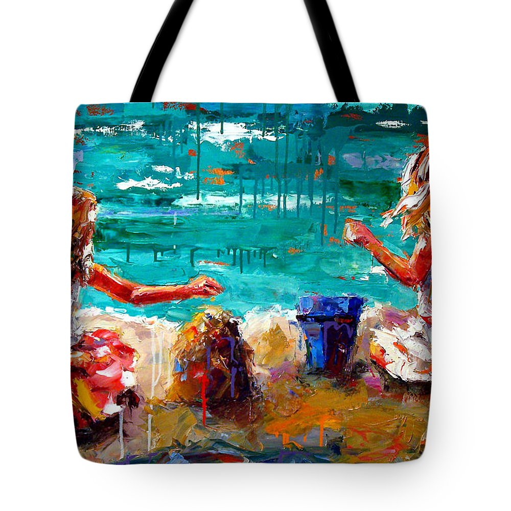 Seascape Tote Bag featuring the painting Her Blue Bucket by Debra Hurd