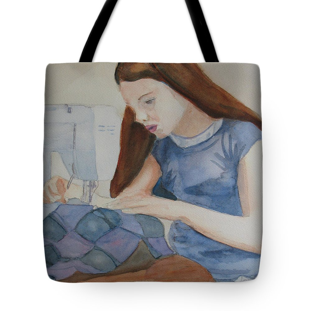 Girl Tote Bag featuring the painting Her First Quilt by Jenny Armitage