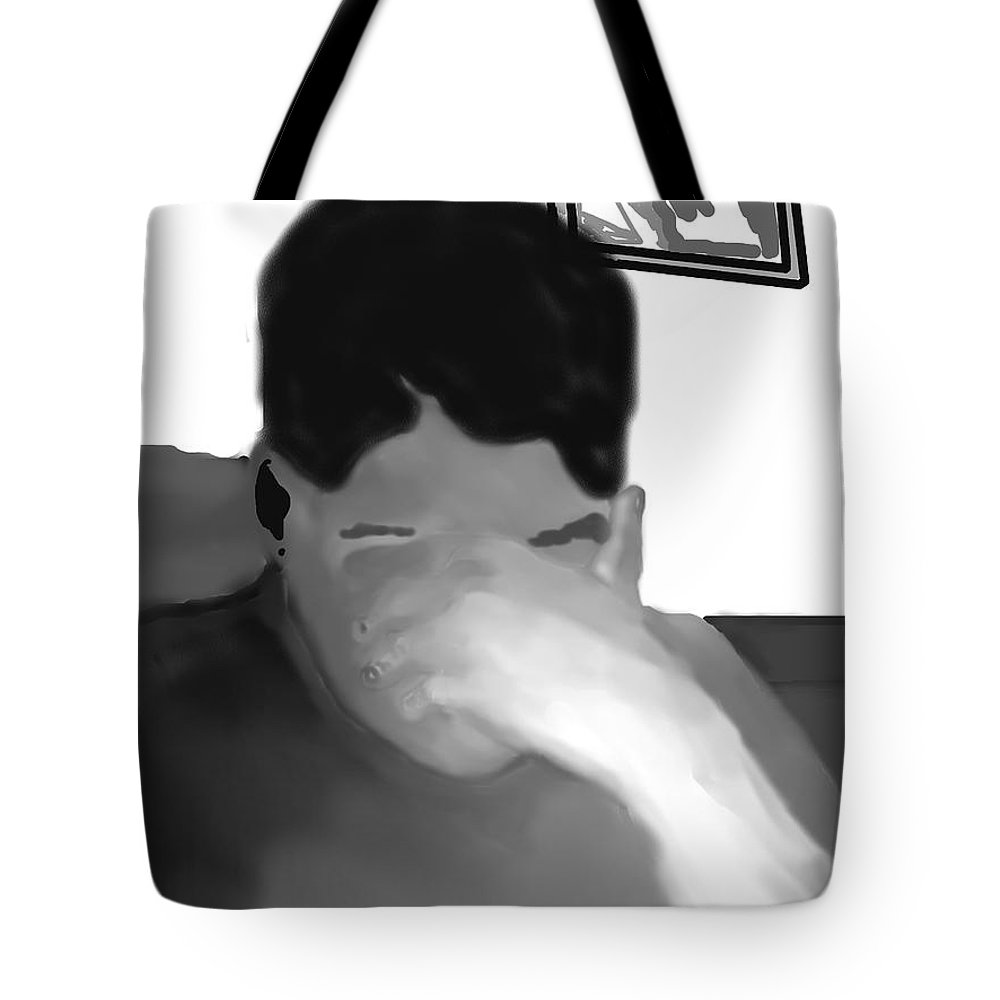 Illustration Tote Bag featuring the drawing Her Hidden Burden by Pharris Art