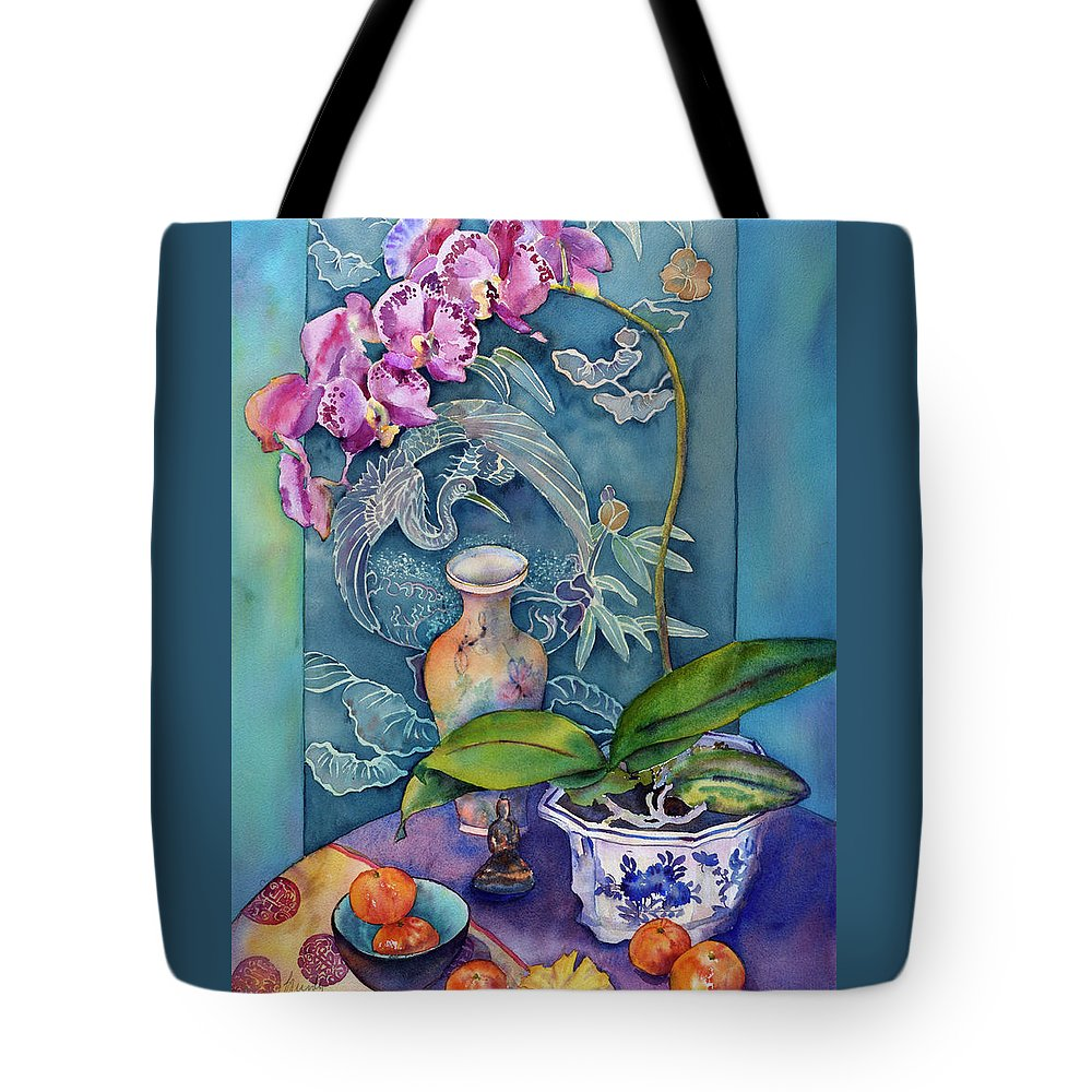 Watercolor Tote Bag featuring the painting Her Labyrinth by Bonny Lundy