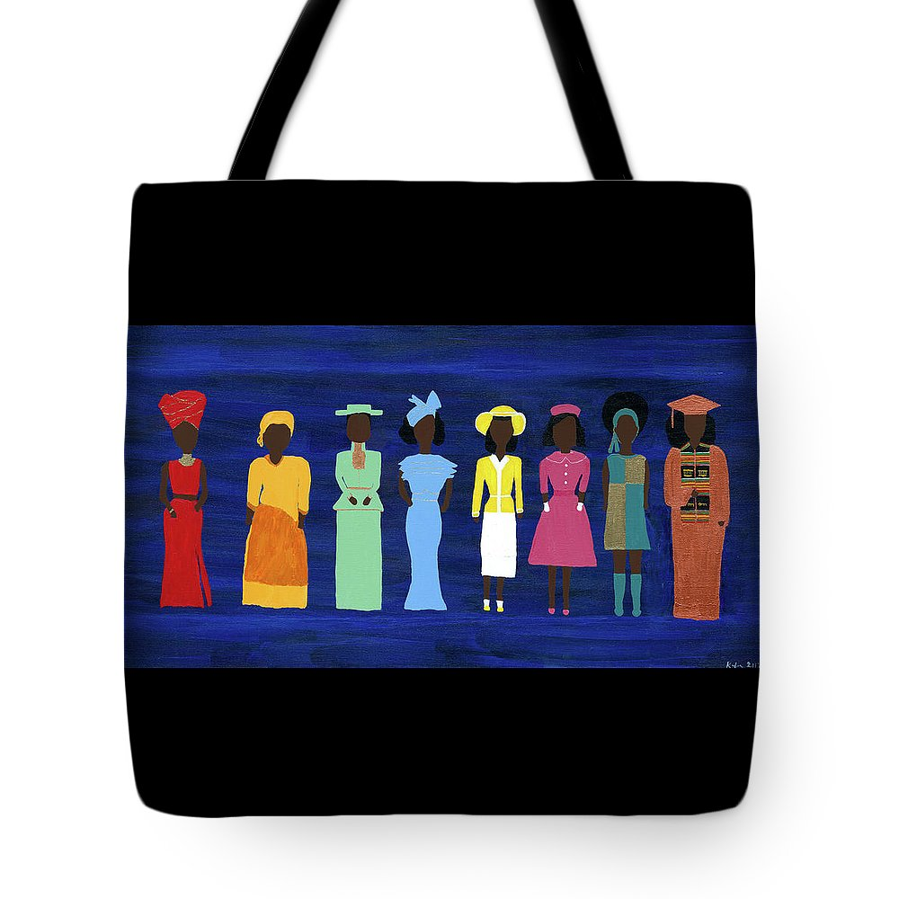 Black Tote Bag featuring the painting Her Legacy II by Kafia Haile