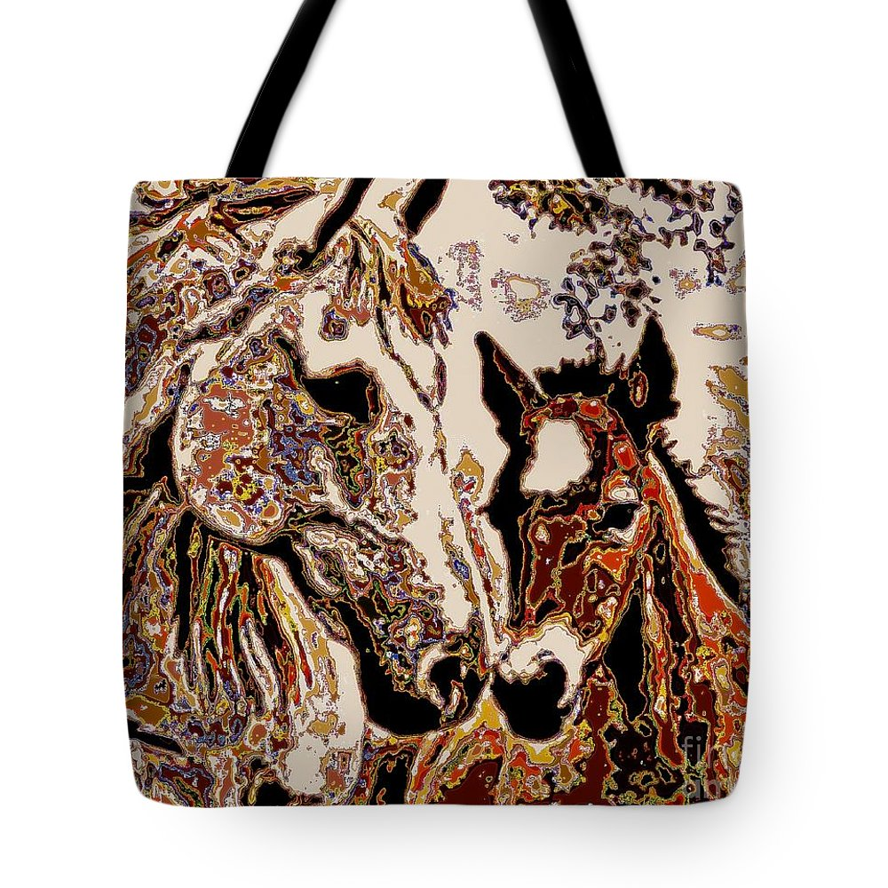 Horse Tote Bag featuring the painting Her Little Colt by Wbk