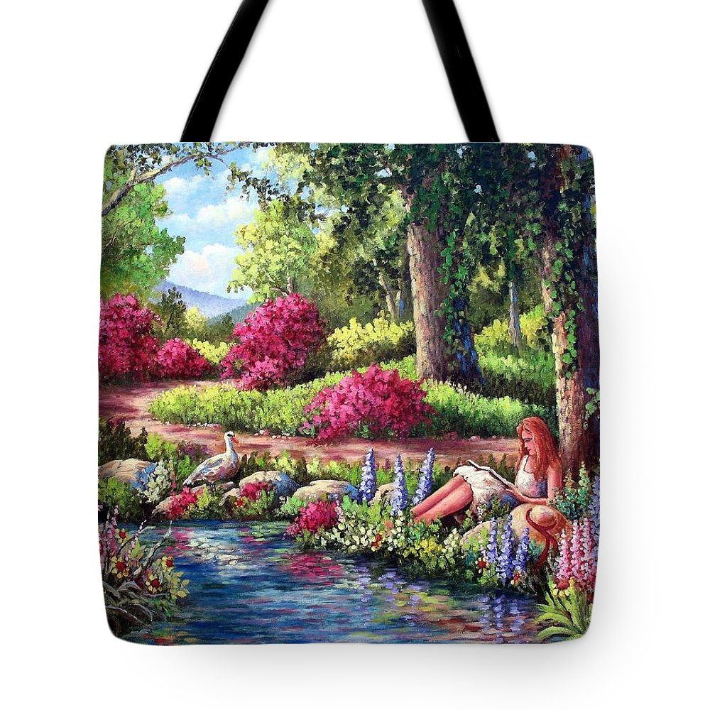 Read Tote Bag featuring the painting Her Reading Hideaway by David G Paul