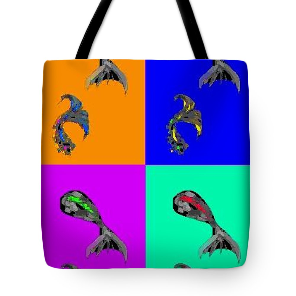 Fish Tote Bag featuring the greeting card Heraldic Fish by Rae Chichilnitsky