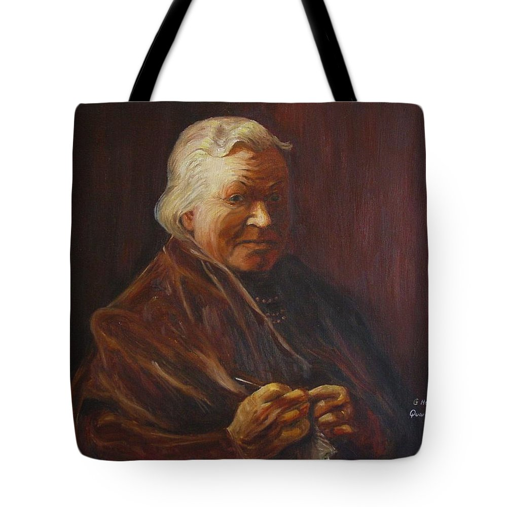 Woman Tote Bag featuring the painting Herbert Abrams Mother by Quwatha Valentine