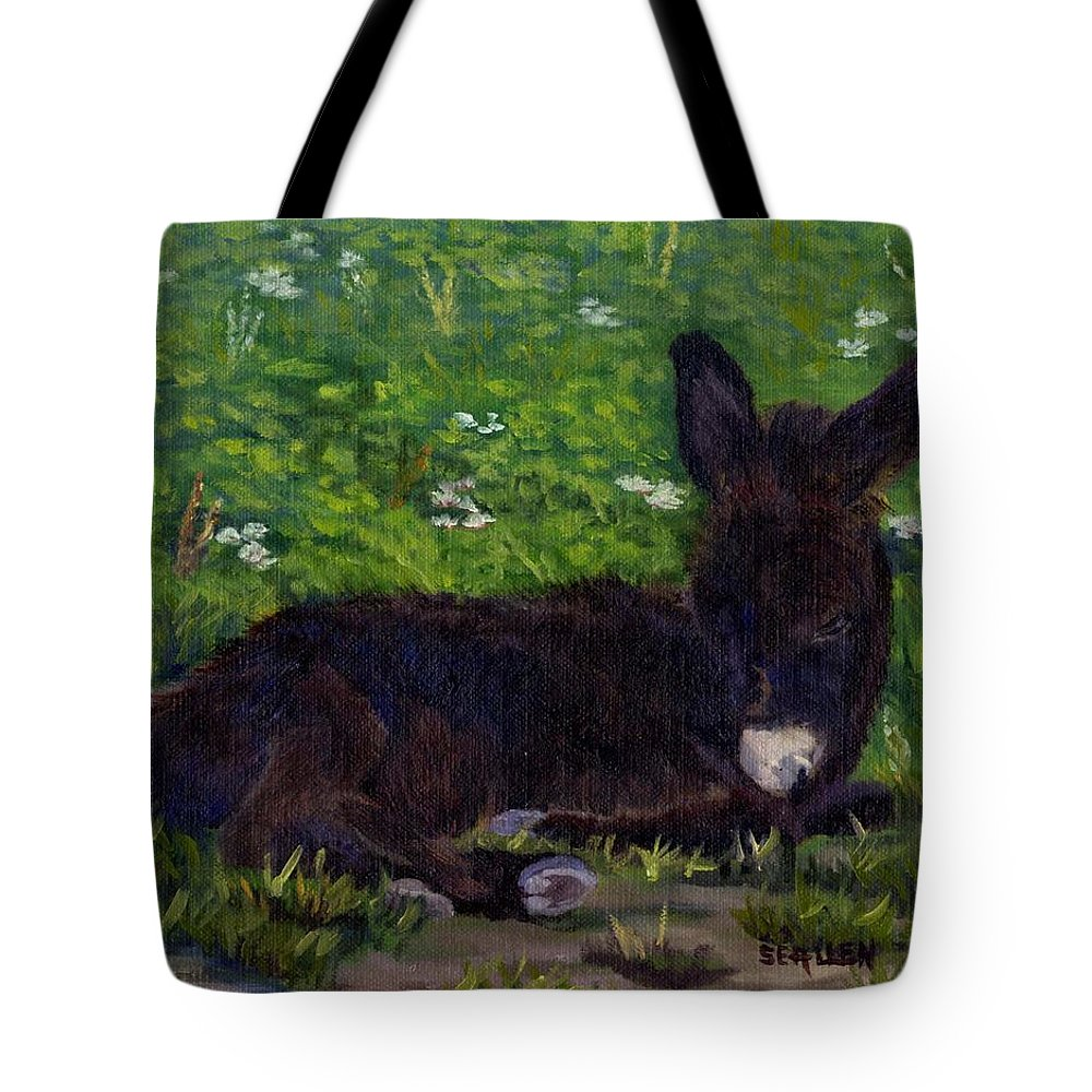 Donkey Tote Bag featuring the painting Hercules by Sharon E Allen