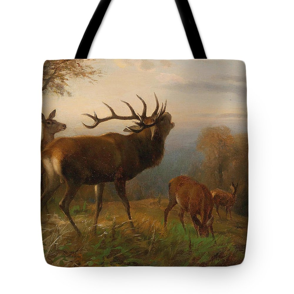 Carl Friedrich Deiker Tote Bag featuring the painting Herd Of Red Deer by Carl Friedrich Deiker