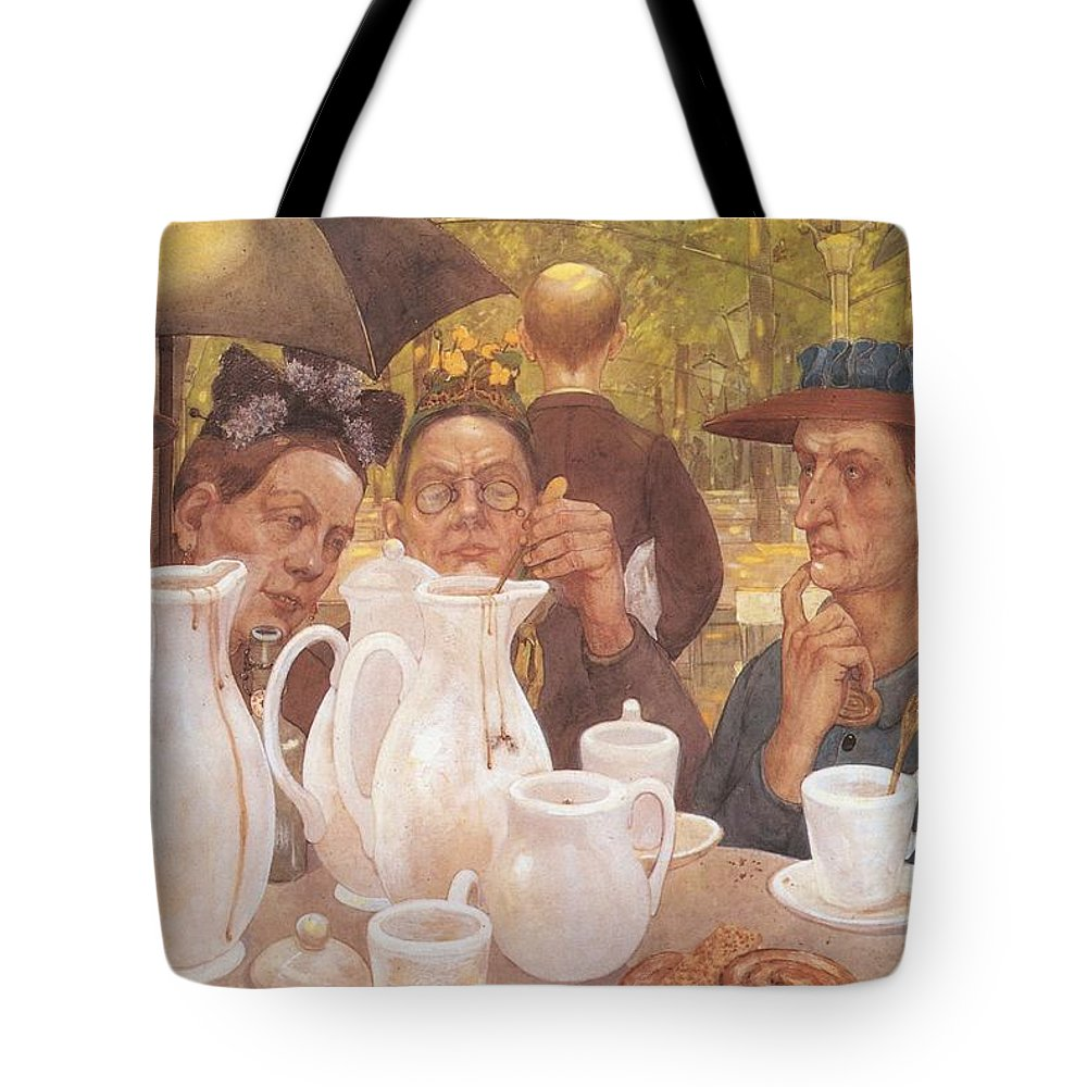Painting Tote Bag featuring the painting Here The Family Can Make Coffee by Mountain Dreams