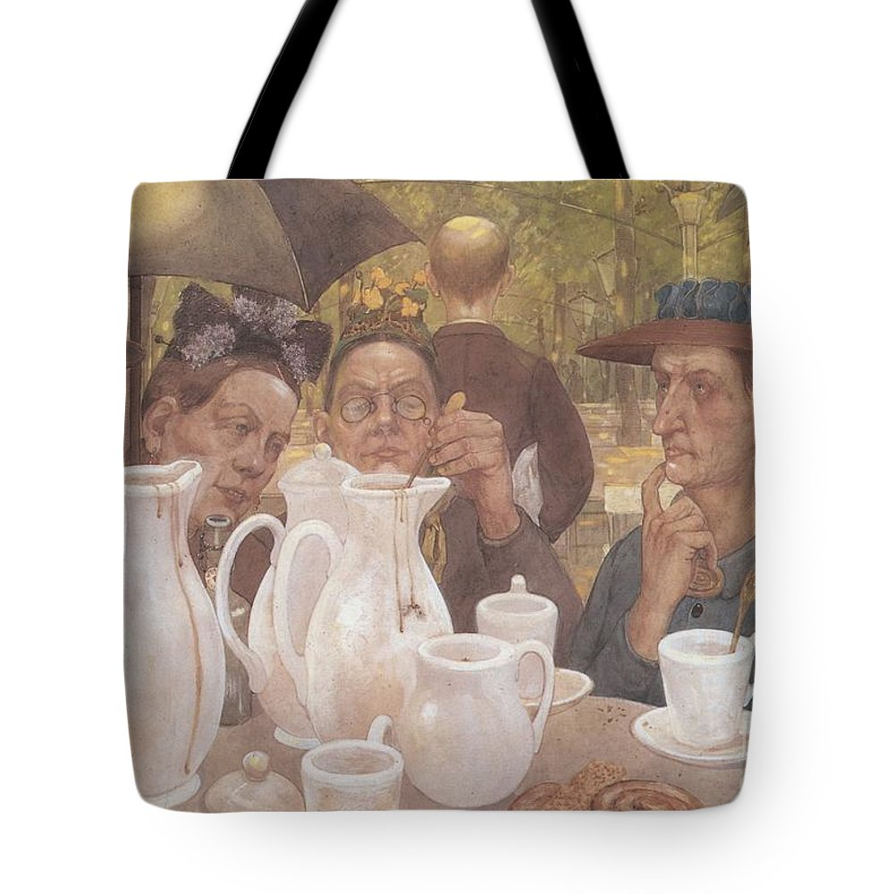 Hans Baluschek Tote Bag featuring the painting Here The Family Can Make Coffee by MotionAge Designs