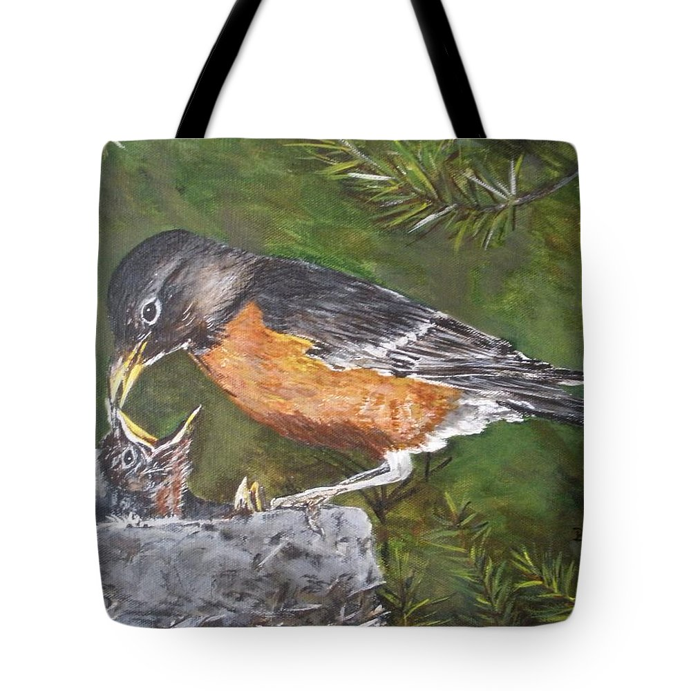 Nature Tote Bag featuring the painting Here You Go.... by Betty-Anne McDonald