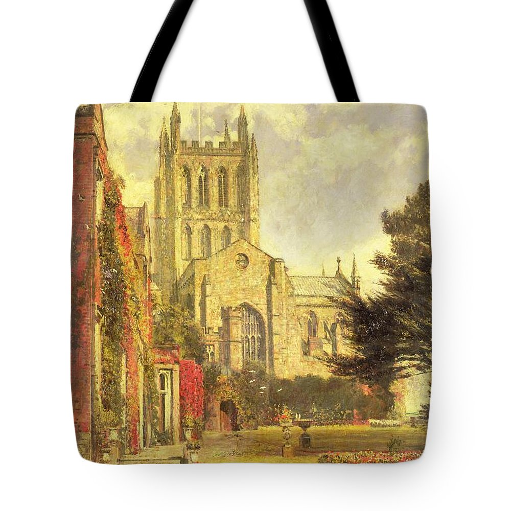 Hereford Tote Bag featuring the painting Hereford Cathedral by John William Buxton Knight