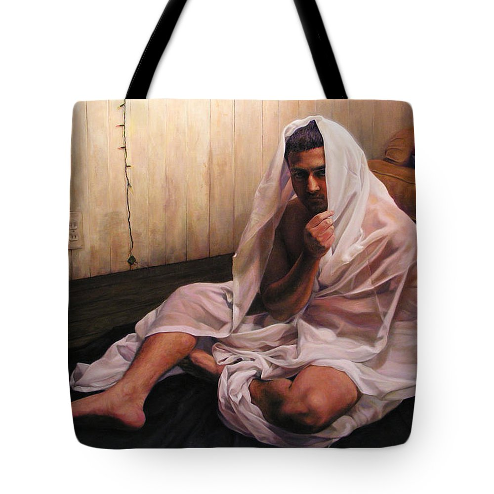 Hermit Tote Bag featuring the painting Hermit by Joe Velez