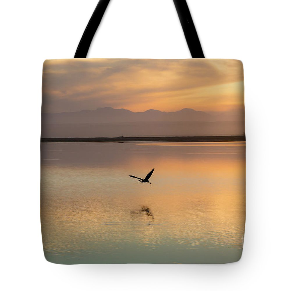 Heron Tote Bag featuring the photograph Heron at sunset by Sheila Smart Fine Art Photography