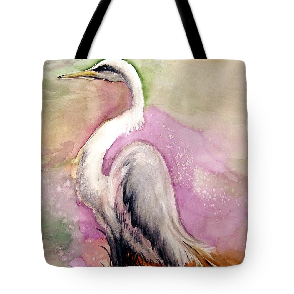 Lil Taylor Tote Bag featuring the painting Heron Serenity by Lil Taylor