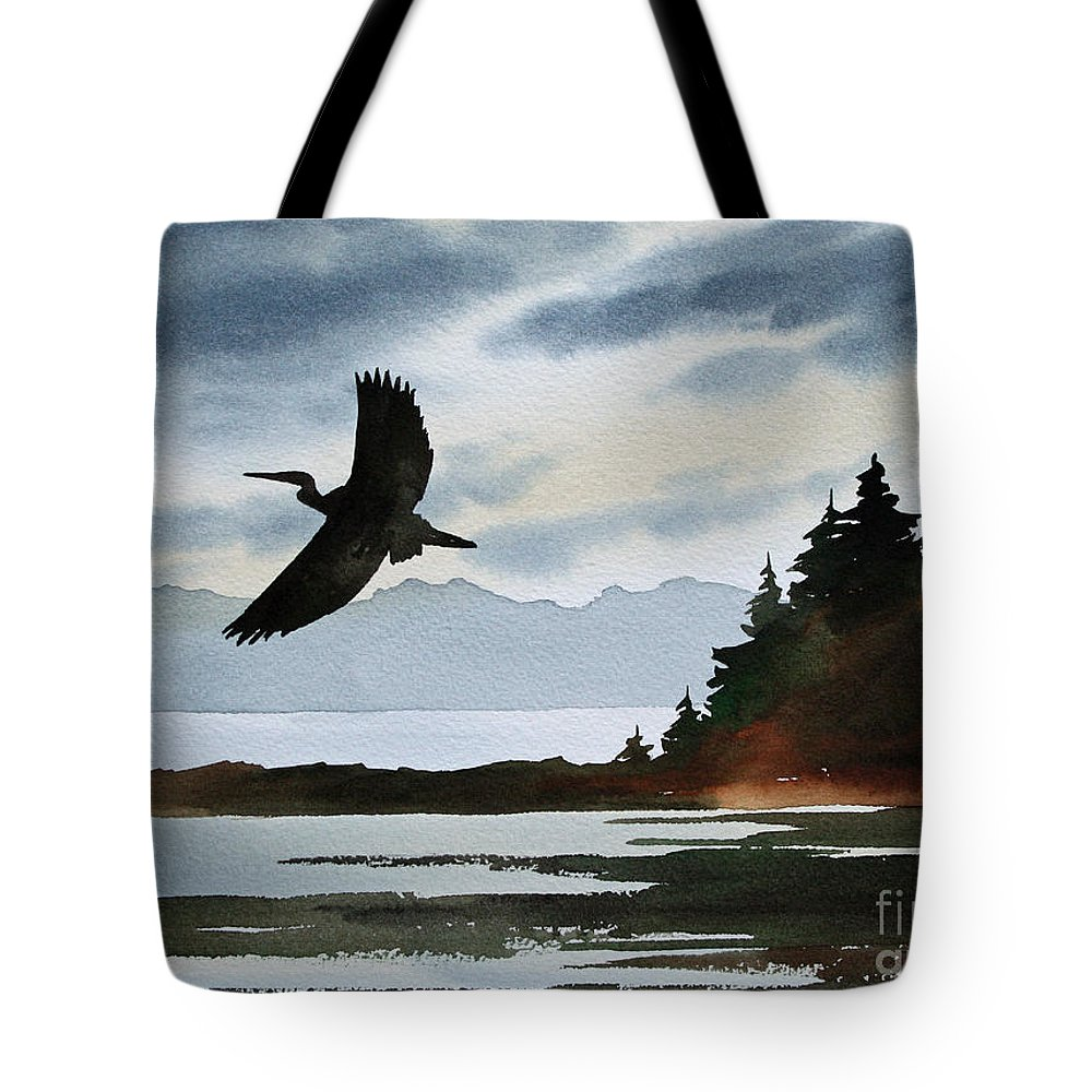 Heron Tote Bag featuring the painting Heron Silhouette by James Williamson