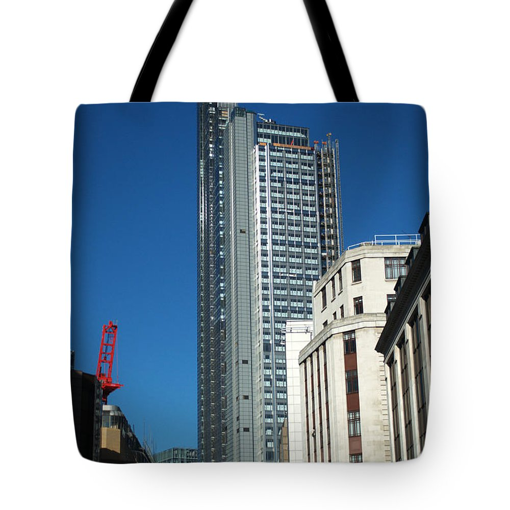 Heron Tower Tote Bag featuring the photograph Heron Tower by Chris Day