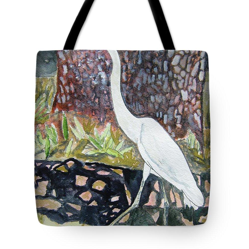 Bird Tote Bag featuring the painting Herron by Derek Mccrea