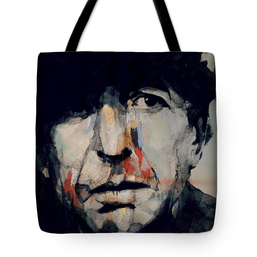 Leonard Cohen Tote Bag featuring the painting Hey That's No Way To Say Goodbye - Leonard Cohen by Paul Lovering