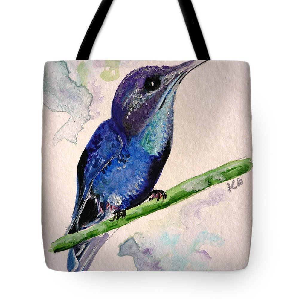 Hummingbird Painting Bird Painting Tropical Caribbean Painting Watercolor Painting Tote Bag featuring the painting hHUMMINGBIRD 2  by Karin Dawn Kelshall- Best