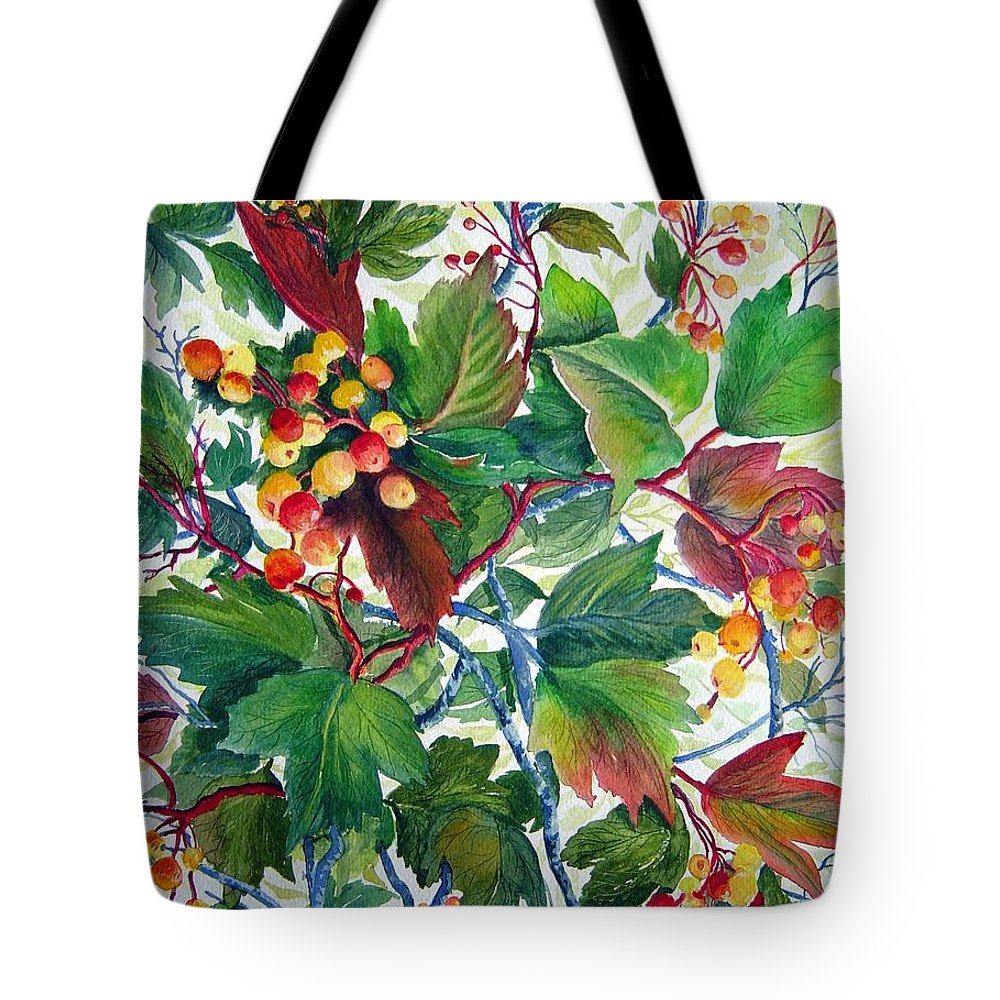 Hi Bush Cranberries Tote Bag featuring the painting Hi-bush Cranberries by Joanne Smoley