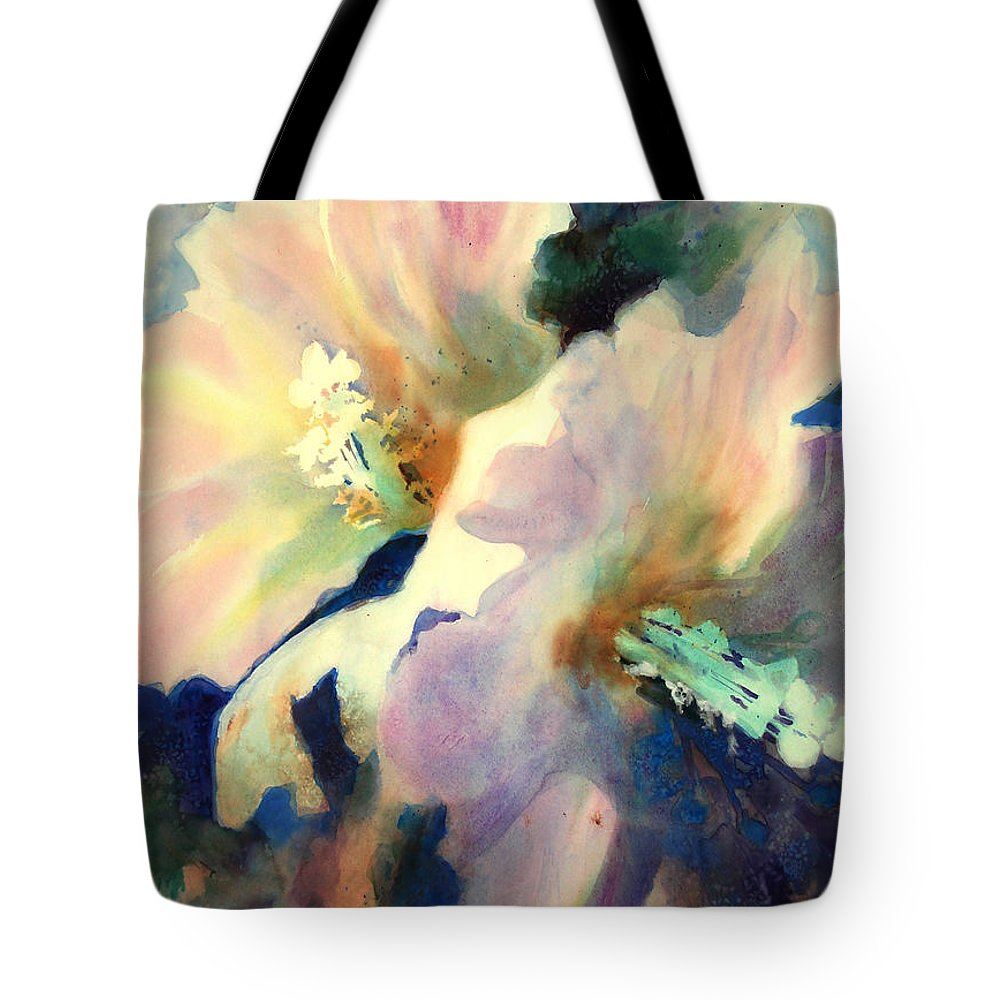 Painting Tote Bag featuring the painting Hibicus Up Close by Kathy Braud