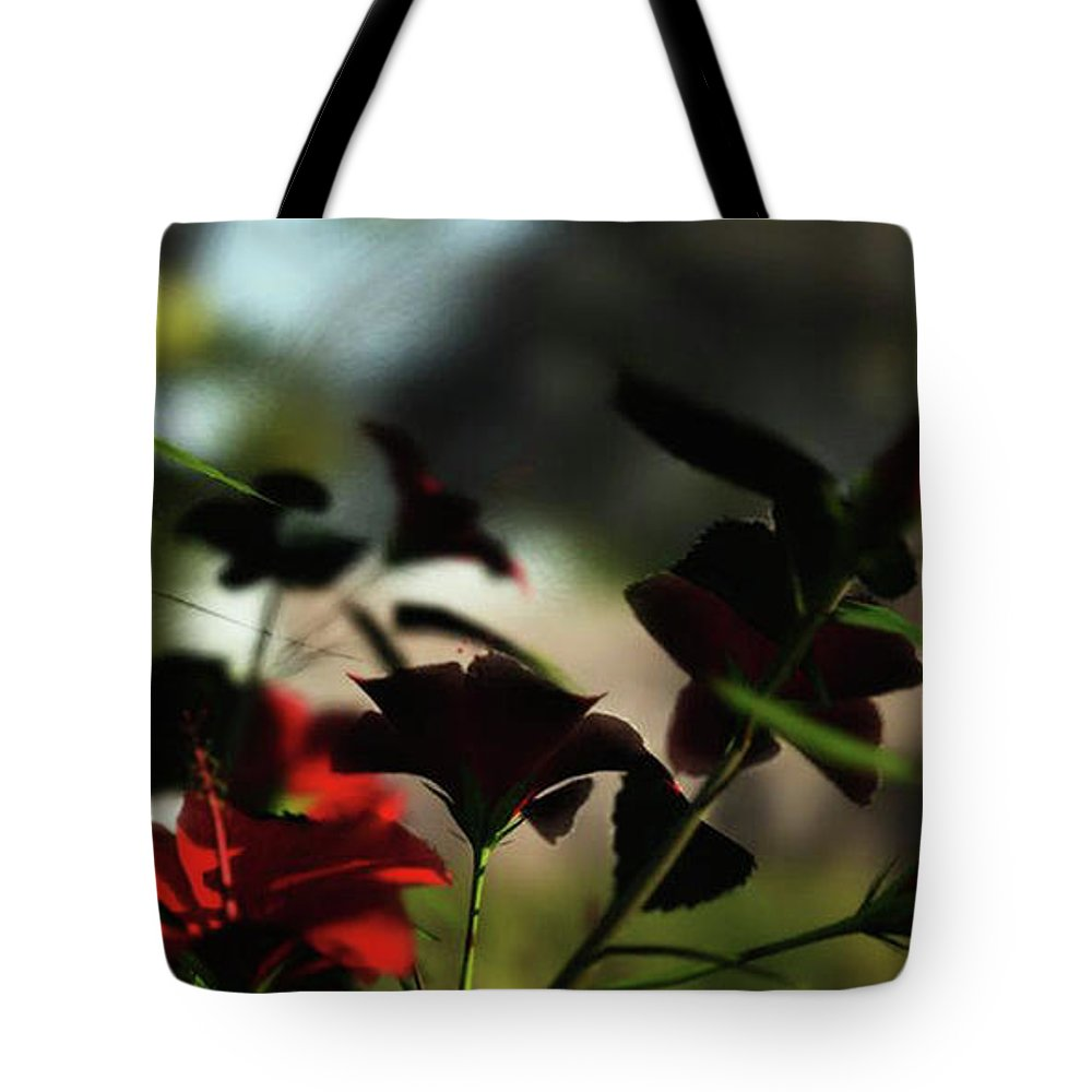 Landscape Tote Bag featuring the digital art Hibiscus by Andy Crawford