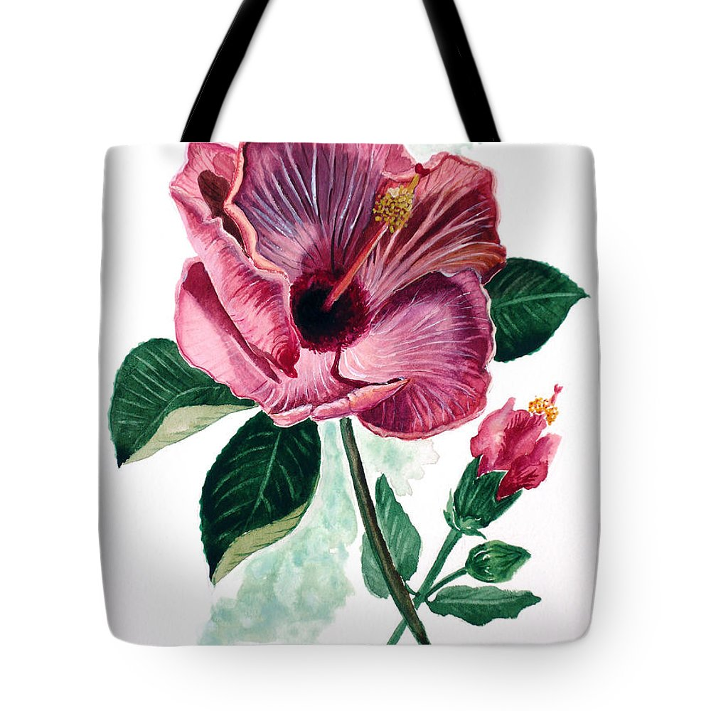 Flora Painting L Hibiscus Painting Pink Flower Painting Greeting Card Painting Tote Bag featuring the painting Hibiscus Dusky Rose by Karin Dawn Kelshall- Best