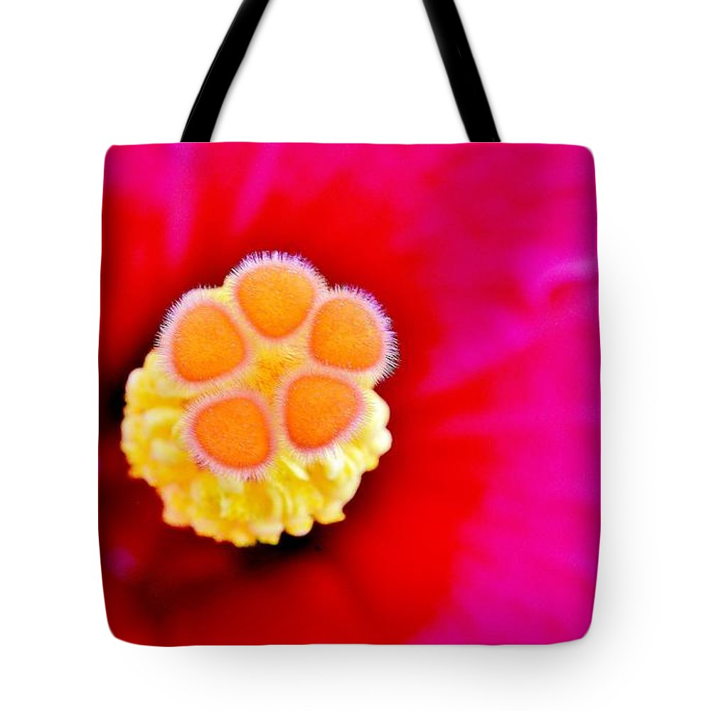 Tropical Floral Fusion Tote Bag featuring the photograph Hibiscus Glow by Lisa Renee Ludlum