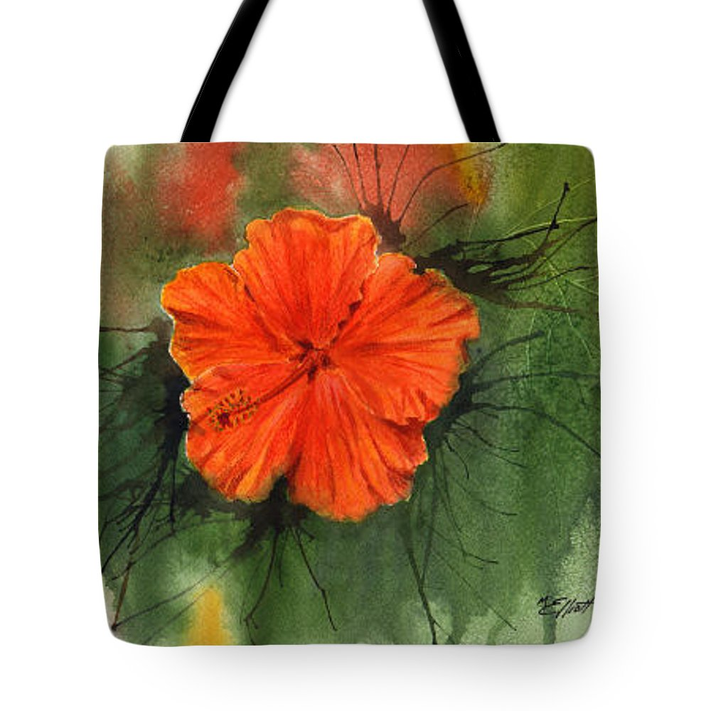 Hibiscus Tote Bag featuring the painting Hibiscus by Marsha Elliott