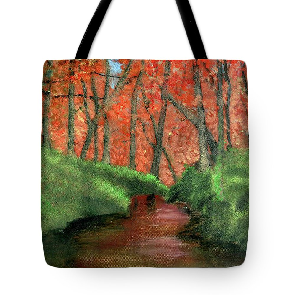 Hidden Tote Bag featuring the painting Hidden By Trees by Vincent Consiglio