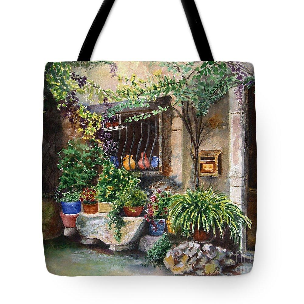 Courtyard Tote Bag featuring the painting Hidden Courtyard by Karen Fleschler