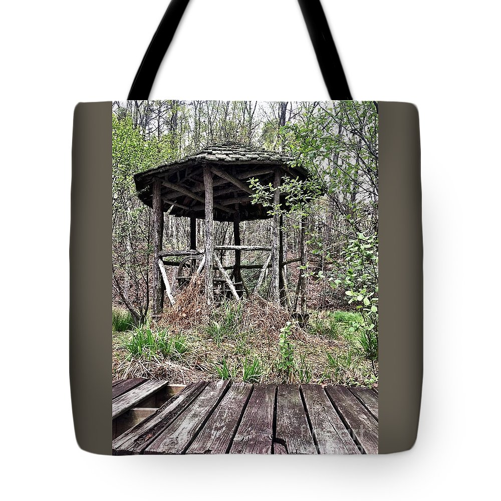 Landscapes Tote Bag featuring the photograph Hidden In The Woods by Ally Lovensheimer