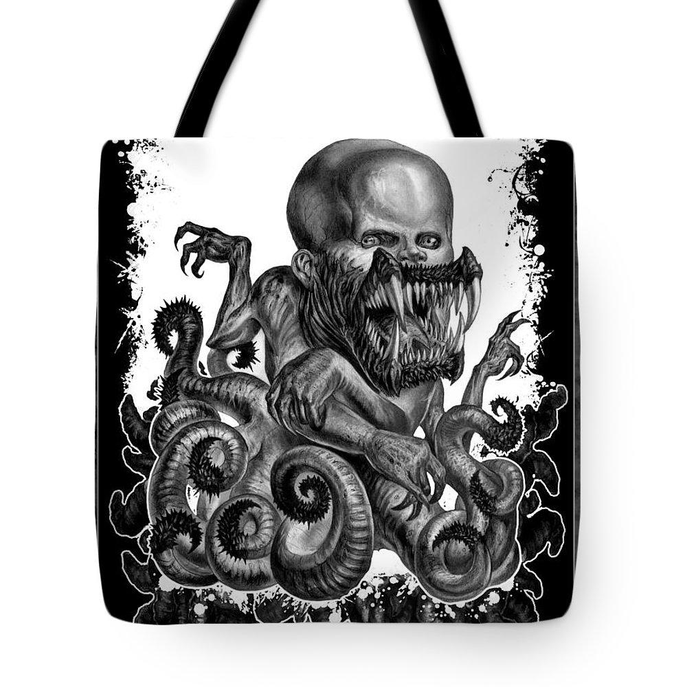 Death Metal Tote Bag featuring the drawing Hideous Truth About An Unknown Birth by Tony Koehl