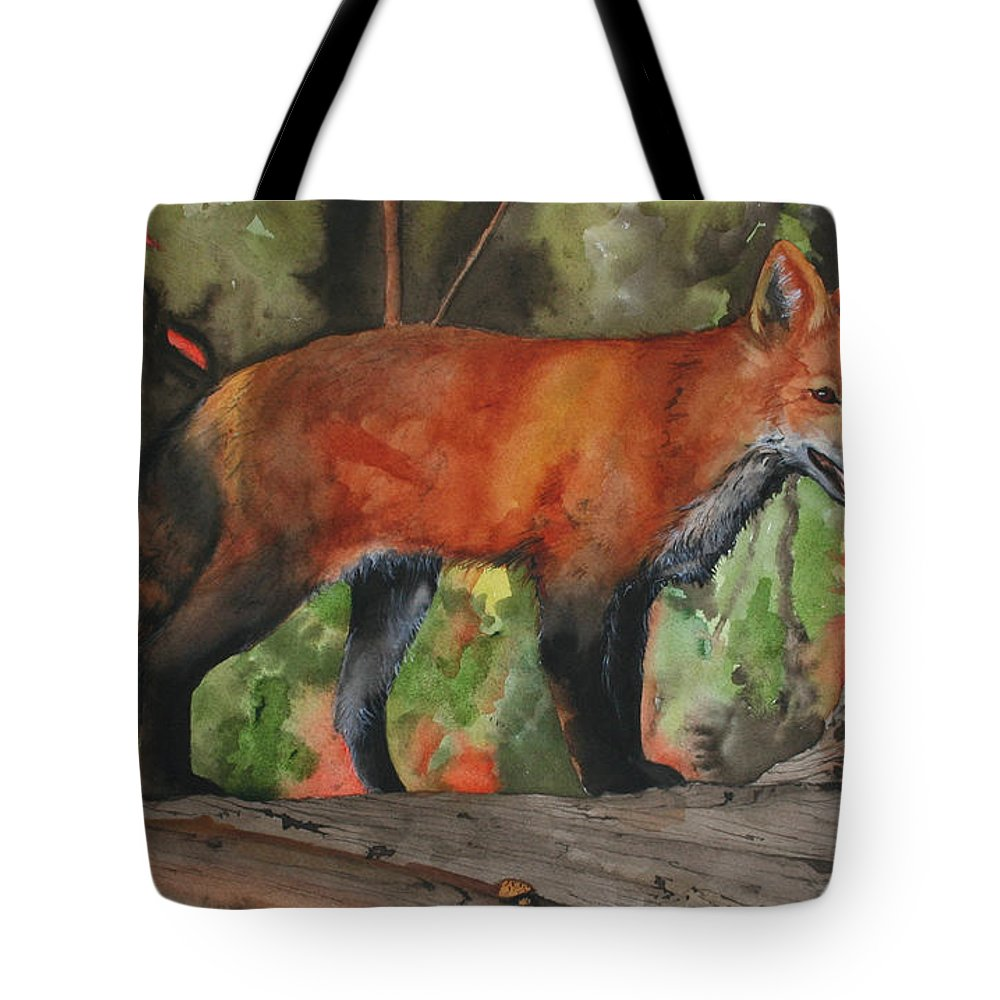 Fox Tote Bag featuring the painting Hiding In Plain Sight by Jean Blackmer