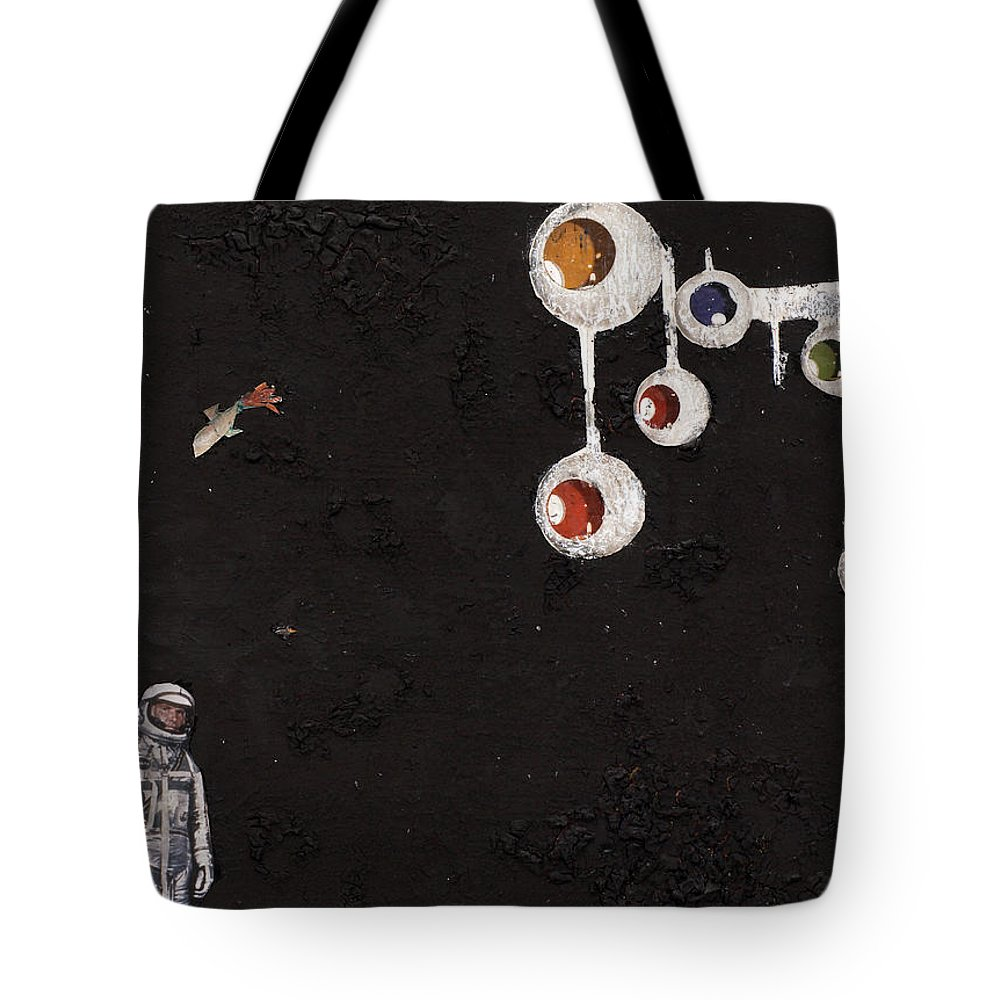 Spaceman Tote Bag featuring the mixed media High Above Him There by Jaime Becker
