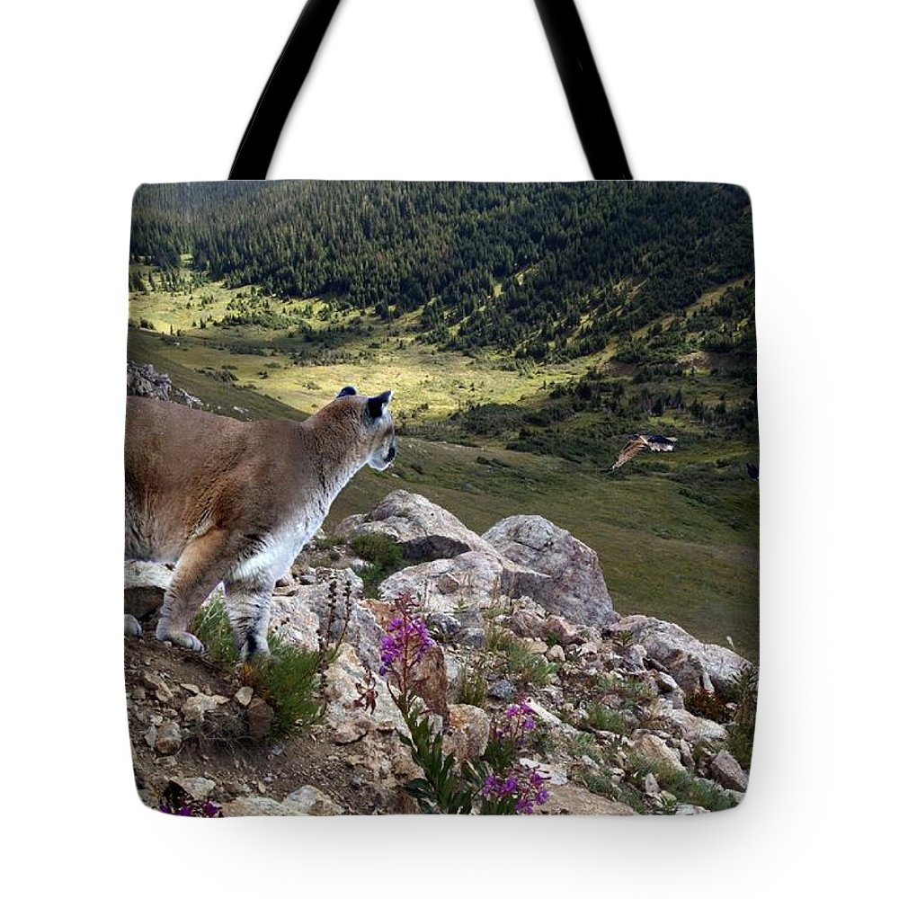 Wildlife Tote Bag featuring the digital art High And Wild by Bill Stephens