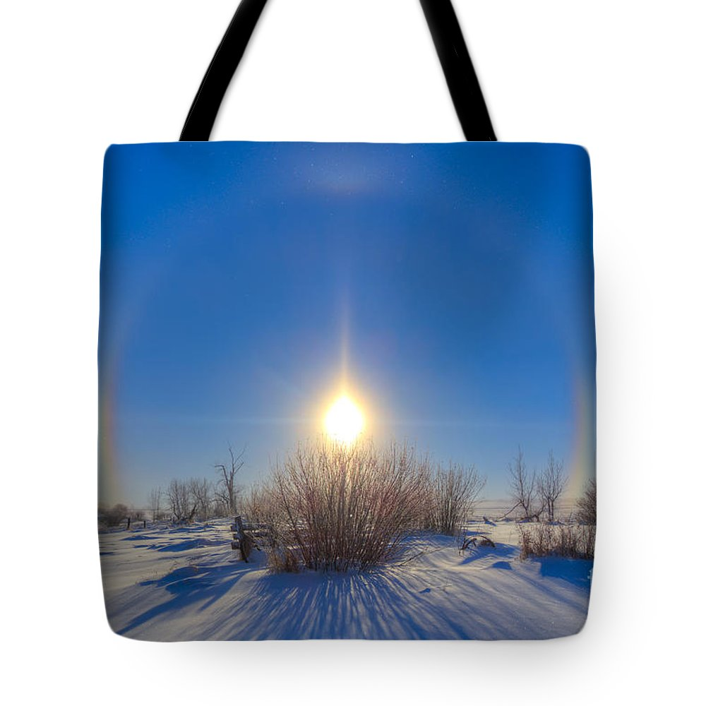 Alberta Tote Bag featuring the photograph High Dynamic Range Photo Of Sundogs by Alan Dyer