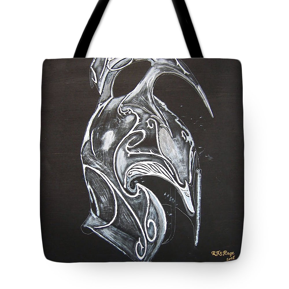 High Elven Warrior Helmet Tote Bag featuring the painting High Elven Warrior Helmet by Richard Le Page