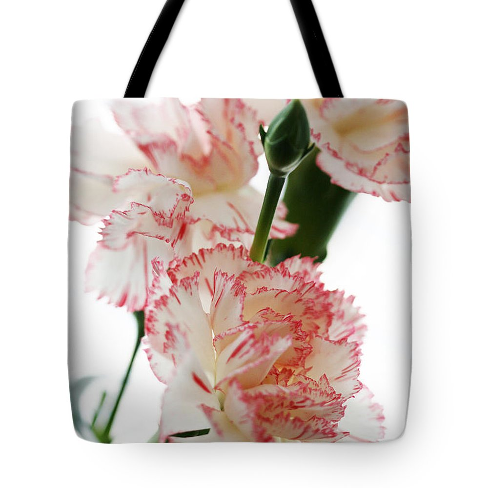 High Tote Bag featuring the photograph High Key Pink And White Carnation Floral by Kathy Clark